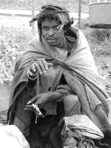 lesotho homeless man B&W