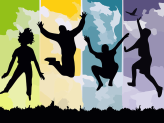 Silhouettes-Young-Grass-Jump-Freedom-Reach-People-307791